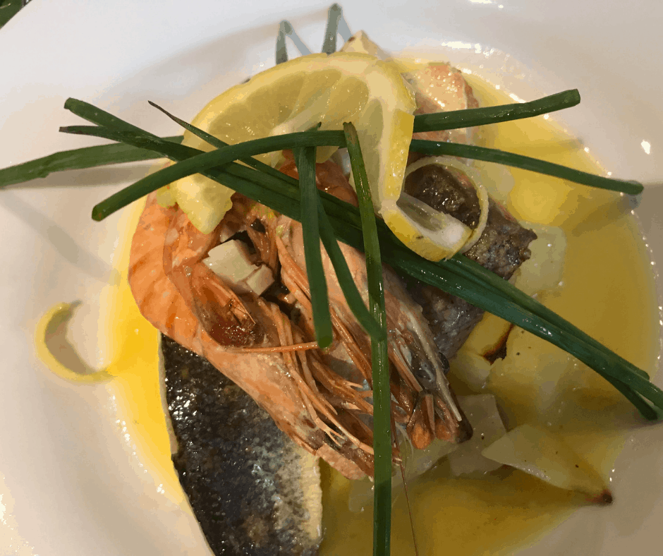 Sea Bass on wilted Spinach and Lemon Butter sauce served in the restaurant at Felbrigg Lodge Hotel